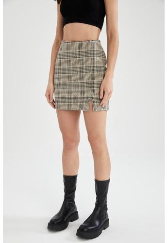 DeFacto brown A-Line Mini Skirt 6CC08AA6815AD6GS_1
