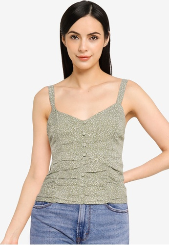 Abercrombie & Fitch green Bare Ruched Mimosa Cami 0D8D8AA5C4F608GS_1