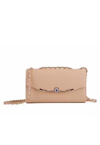 Vince brown Mini Small Metal Chain Crossbody Bag (Khaki) FL898AC15ELGMY_1