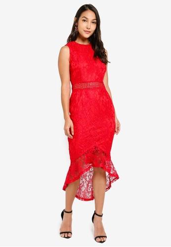 23c71b609d0 AX Paris red Fishtail Hem Lace Midi Dress 63FF9AA09A91A6GS 1