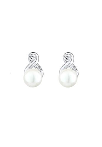 Elli Germany silver Elli Germany 925 Sterling Silver Swarovski® Crystals Freshwarter Pearl Earrings EL474AC0S1ZZMY_1