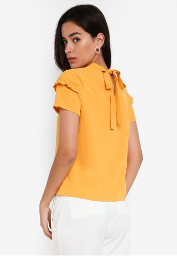 ZALORA yellow Ruffle Tie Back Top A7CADAAEDE86CEGS_1