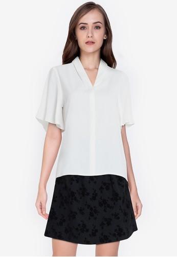 ZALORA WORK white Flare Sleeves Top 9E14FAA13857C4GS_1