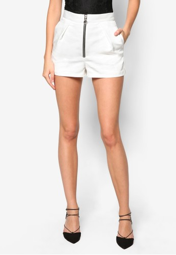 High-Waisted Zip zalora 手錶Shorts, 服飾, 休閒短褲