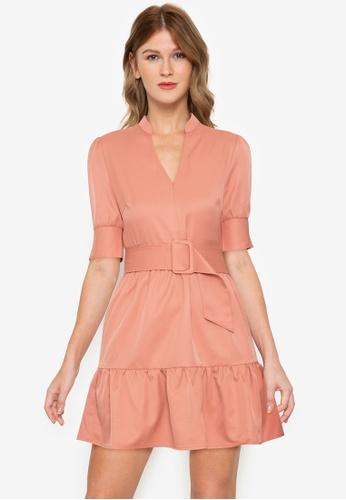 ZALORA BASICS brown Puff Sleeve Belted Dress 007DEAA2784A47GS_1