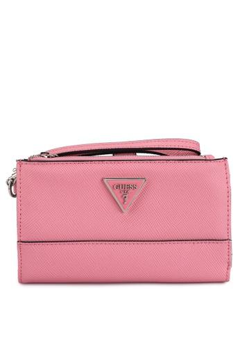 Guess pink Noelle Sling Double Zip Organizer Wallet 119B8AC5156313GS_1
