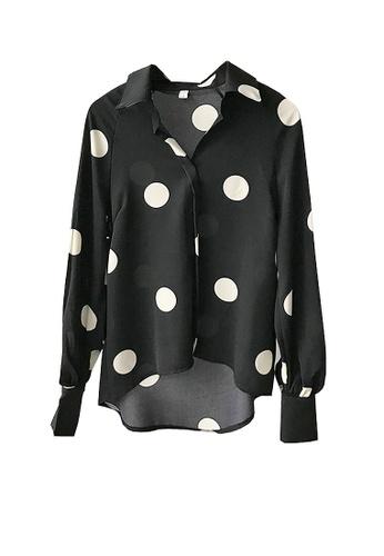 Twenty Eight Shoes black VANSA Polka Dots Print Long Sleeve Shirts  VCW-Sh3023 32371AA071B1F3GS_1