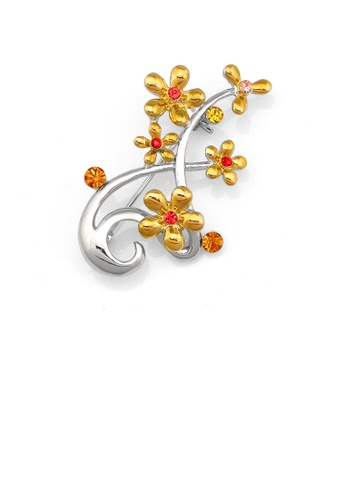 Glamorousky yellow Flower Brooch with Red Yellow Orange Austrian Element Crystals 606F2AC8E3BD1AGS_1