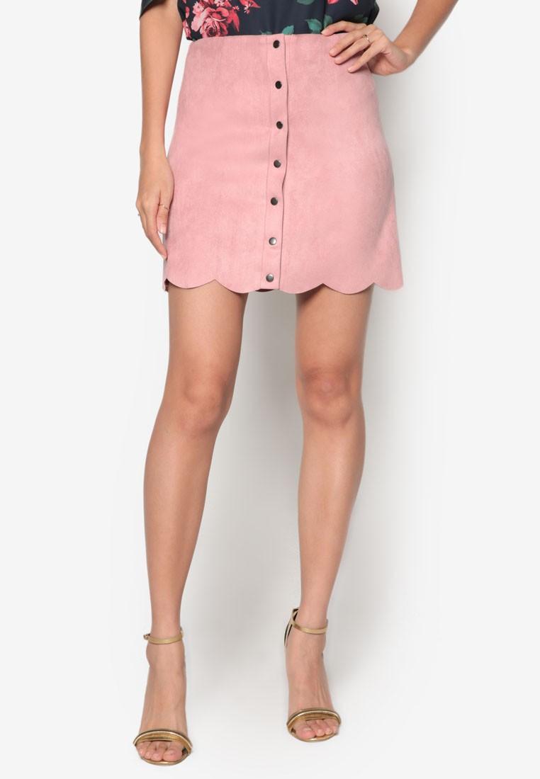 Suede Scallop Hem Skirt