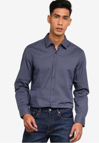 BOSS navy Isko Long Sleeve Shirt - BOSS Men D711BAAFBCB8B4GS_1