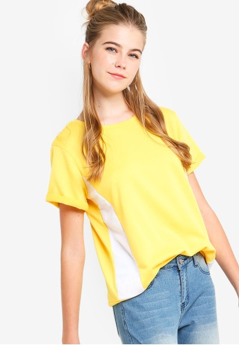 Something Borrowed yellow Colorblocked Tee 276E0AA6D772D6GS_1