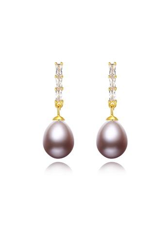 SUNRAIS gold Premium color stone gold simple design earrings 44E24AC1C3E02BGS_1