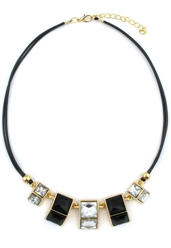 YOUNIQ black and gold YOUNIQ-Basic Cube Gemstone Geometric Statement Necklace (Black) YO999AC76TFJMY_1