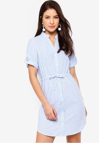 ZALORA blue and multi Button Down Pull String Shirt Dress B5582AA762E755GS_1