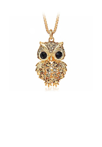 Glamorousky silver Owl Pendant with Champagne Gold Austrian Element Crystal with Necklace B445AACE9C946AGS_1