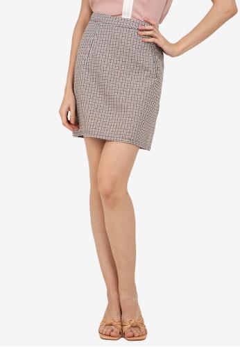 ZALORA WORK multi Printed Mini Check Skirt BB95CAAFBCD0ACGS_1