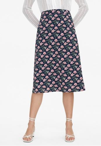 Pomelo blue Floral A Line Skirt - Navy B1ECCAA26CF308GS_1