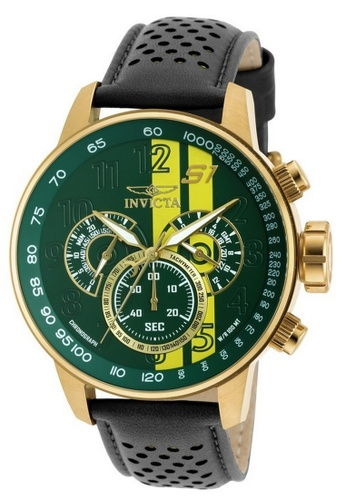 INVICTA green and gold Invicta S1 Rally Men 48mm Case Black, Brown, Yellow Leather Strap Yellow, Green Dial Quartz Watch 19902 IN968AC0F5F1SG_1