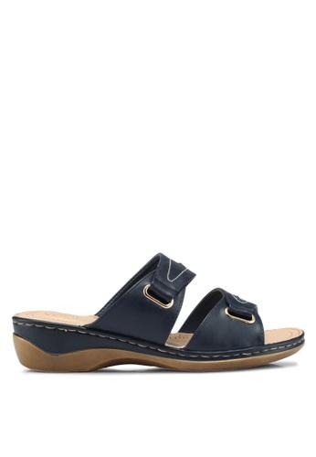 Bata 藍色 休閒懶人楔型鞋 3AF47SHF585E6EGS_1