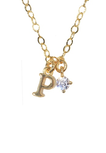 PSYNDROME gold Personalised Initial Letter Alphabet with Cubic Zircona Necklace - P 7B318AC4E577ECGS_1
