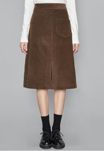 前開叉口袋zalora taiwan 時尚購物網鞋子燈芯絨中裙, 服飾, 及膝裙