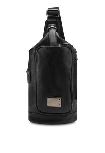 High Cultured black PU Leather Chest Bag HI002AC0SPDCMY_1