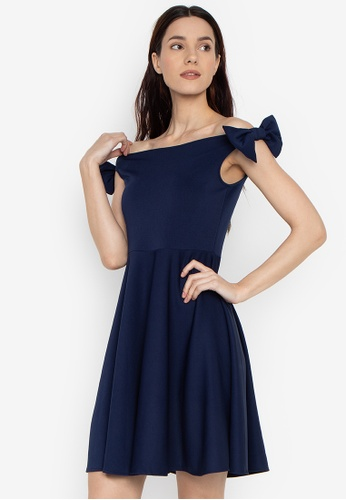 3971ba6342 Ashley Collection navy Off Shoulder Ribbon Detail Flare Dress  487D2AA1651161GS 1