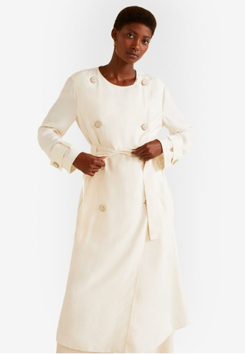 MANGO beige Double Breasted Trench Coat 02BBCAA01FA78CGS_1