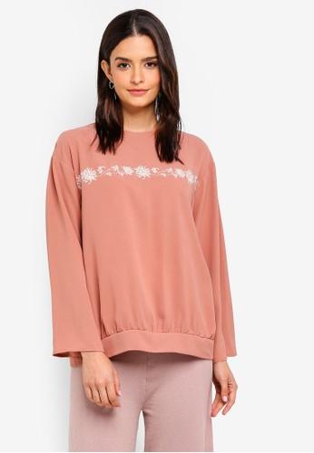 Zalia pink Embroidered Sweater Top 0ADA6AA35F57ADGS_1