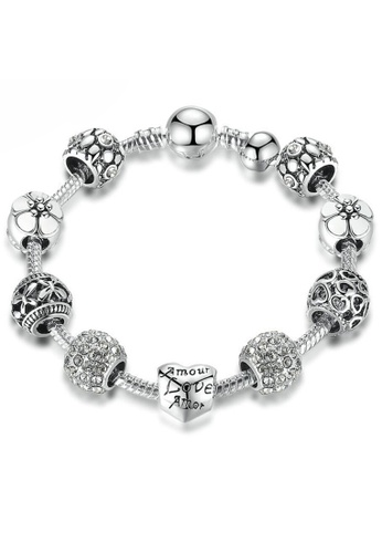 YOUNIQ silver YOUNIQ 925S Silver Charm Bracelet with Love & Flower Crystal Ball for Her Wedding Gift PA1503 B7118ACE1D128FGS_1