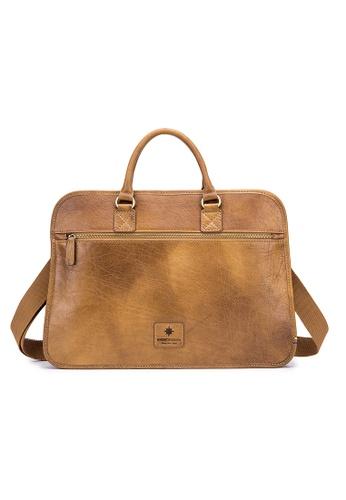 ENZODESIGN brown ENZODESIGN Vintage Buffalo Leather Single Compartment Slim Work Bag 694B2ACAF62AD0GS_1