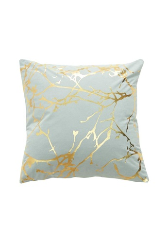 DILAS HOME Tree Branch Gold Print Cushion Cover (Light blue) A88C1HLAA52BF8GS_1