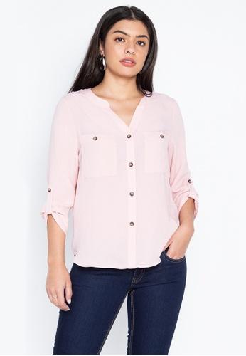 DEBENHAMS pink Principles - Prn Textured Utility Shirt A1C73AA7E9CACAGS_1
