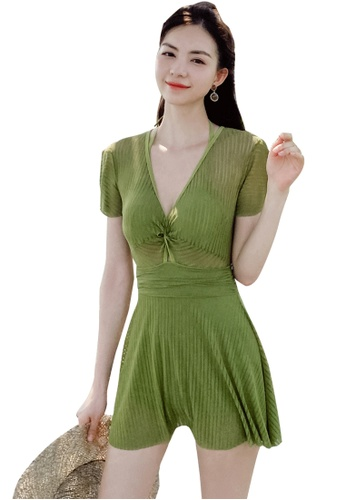 A-IN GIRLS green Sexy Gauze One-Piece Swimsuit 8E5B1US39F2274GS_1