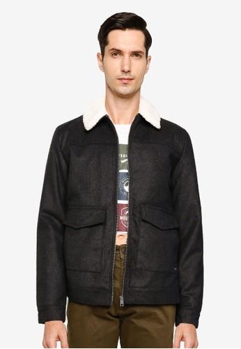 !Solid grey Linton Teddy Collar Jacket 838EAAAE7AAEA6GS_1