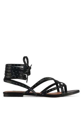 ZALORA black Pin Stud Lace-up Sandals 014EESHCAB1477GS_1