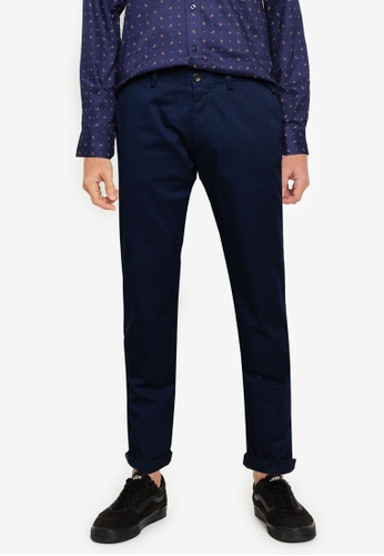 Ben Sherman navy Signature Slim Stretch Chino Trousers EF89EAA2059677GS_1