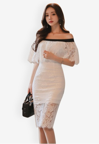 Sunnydaysweety white Lace Off Shoulder One Piece Dress C2737AADB6C84BGS_1