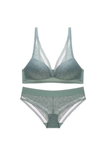 W.Excellence 綠色 Premium Green Lace Lingerie Set (Bra and Underwear) 4E167US92EF104GS_1