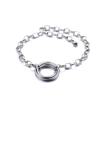 Glamorousky silver Simple Temperament Geometric Circle 316L Stainless Steel Necklace EC554ACA5ABEC8GS_1