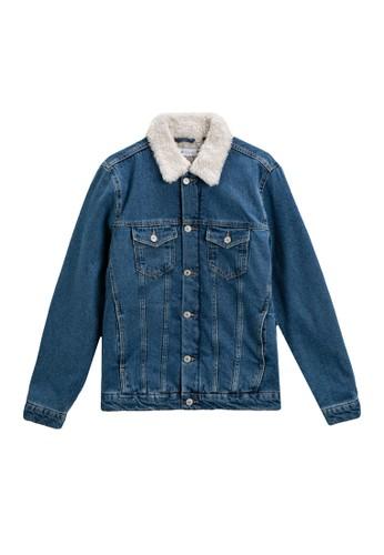KOTON blue Faux Fur Collar Denim Jacket B1650AA23C7595GS_1