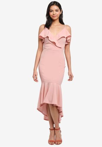AX Paris pink Frill Front Dip Hem Dress 6FE7BAA54BA2E2GS_1
