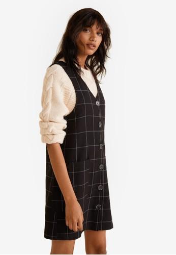 MANGO black Checkered Button Pichi Dress E7B7EAAB0598C0GS_1