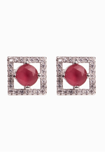 Shantal Jewelry Grey And White Red Pink Silver Cubic Zirconia Ruby Square