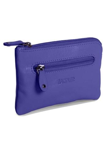 SADDLER purple SADDLER Rectangular Zip top Coin Key Purse with Double Key Chain Ultraviolet 4E815AC8E5D43DGS_1
