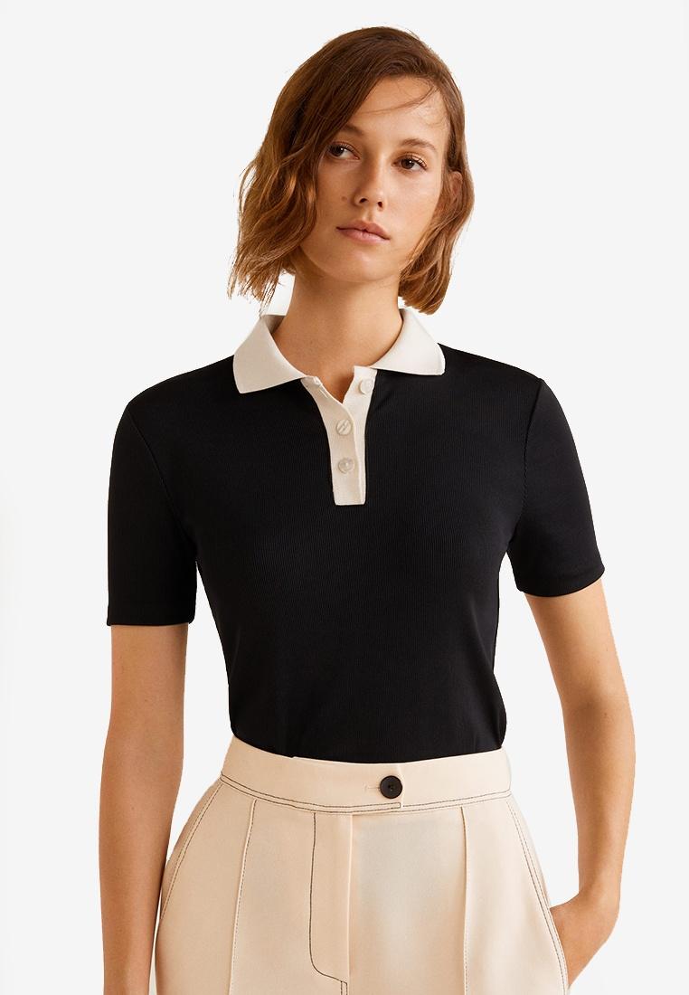 Contrast Mango T Shirt Black Collar ffrAqUnRx