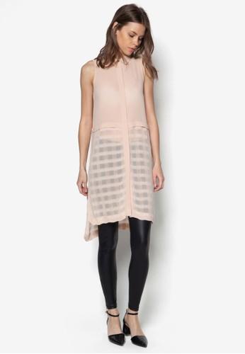 格紋zalora是哪裡的牌子拼接長版無袖上衣, 服飾, 服飾