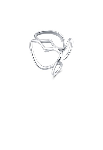 Glamorousky silver Simple and Fashion Line Adjustable Split Ring 46B89ACD1DA18AGS_1