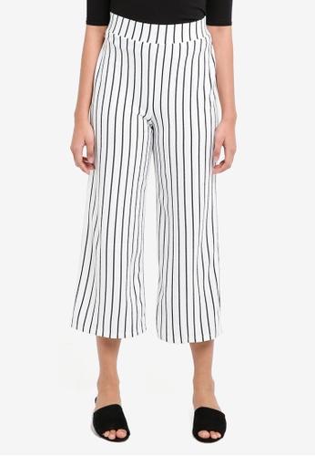 Miss Selfridge white White Striped Cropped Wide Leg Trousers F8843AA6DE8218GS_1
