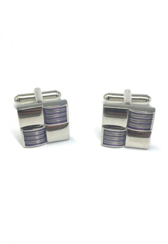 Splice Cufflinks purple and silver Purple Stripes 3D Square Cufflinks SP744AC12FTFSG_1
